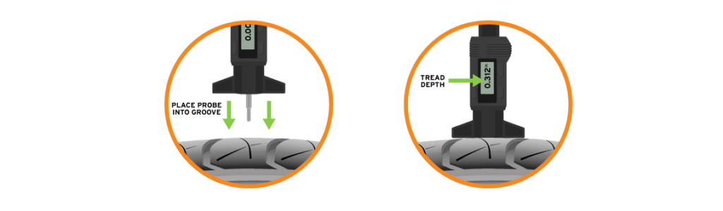 using a tread depth gauge to test tire air pressure
