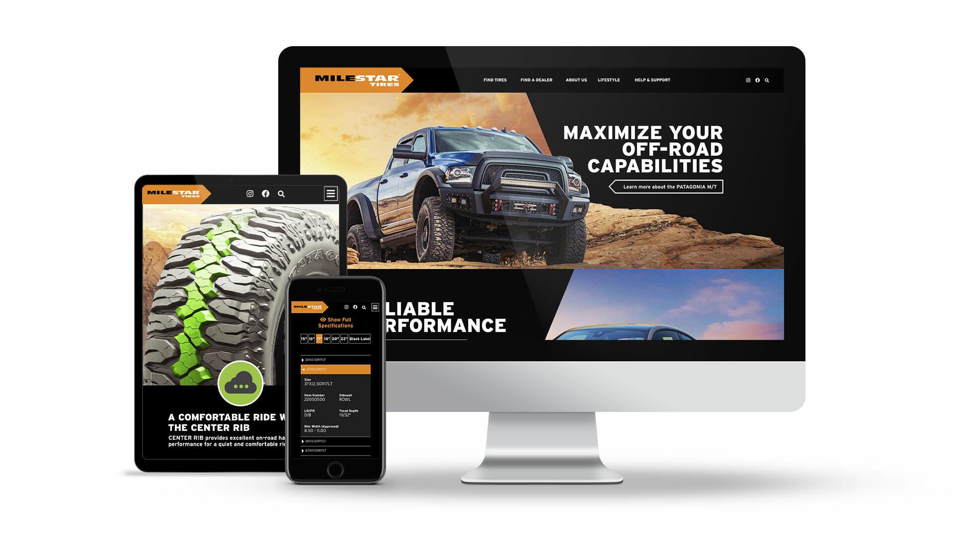milestar tires new interactive website